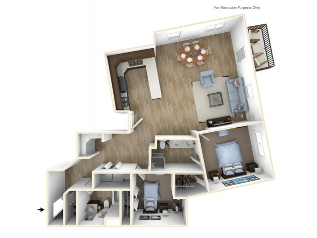 2 Bedroom, 2 Bathroom L Floor Plan