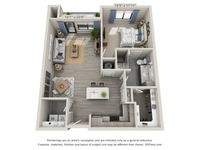 A4 | 1 bed 1 bath | from 852 square feet