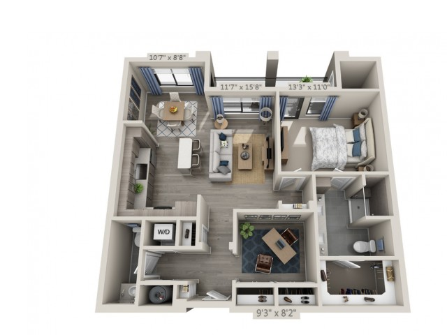 B2 | 1 bed 1 bath | from 987 square feet