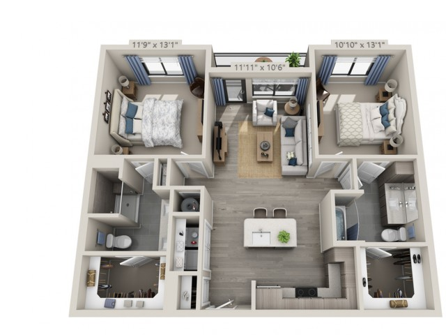 C1 | 2 bed 2 bath | from 1048 square feet
