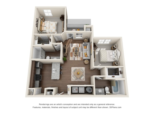 2 bedroom/2 bath 1 | 2 bed 2 bath | from 996 square feet