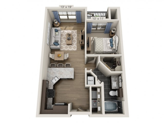 Nash A | 1 bed 1 bath | from 618 square feet