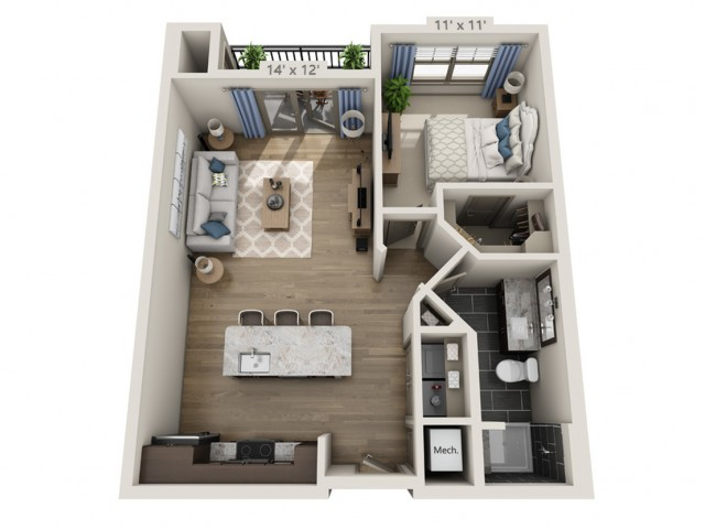 Dylan A | 1 bed 1 bath | from 765 square feet