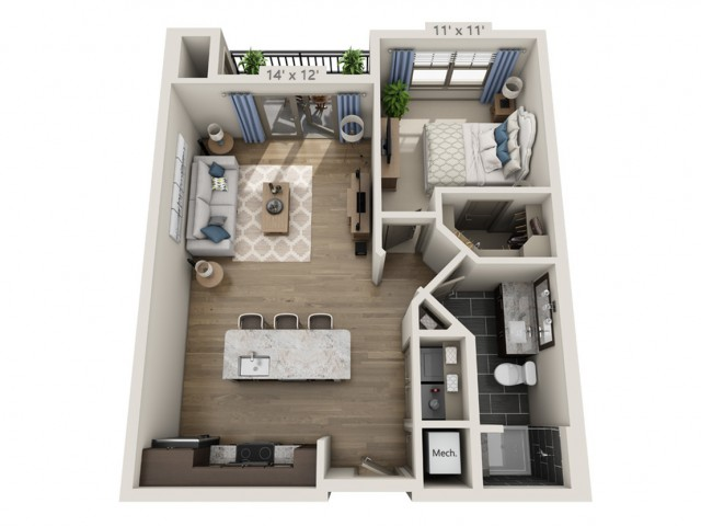 Dylan D | 1 bed 1 bath | from 770 square feet