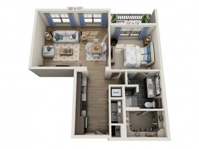 Simon | 1 bed 1 bath | from 862 square feet