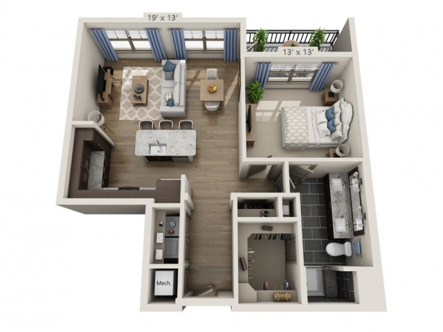 Simon A | 1 bed 1 bath | from 791 square feet