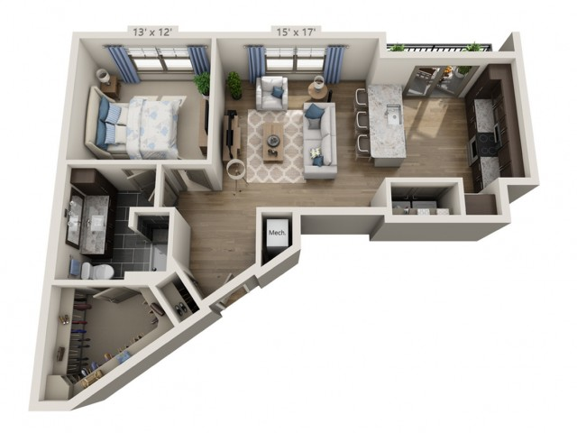 Hendrix | 1 bed 1 bath | from 843 square feet