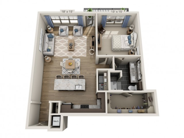 Simmons | 1 bed 1 bath | from 982 square feet