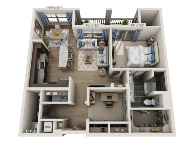 Franklin | 1 bed 2 bath | from 967 square feet