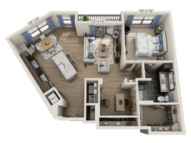 Presley | 1 bed 1 bath | from 1017 square feet