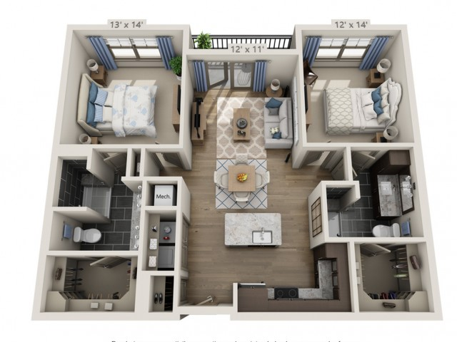 Clapton A | 2 bed 2 bath | from 1114 square feet