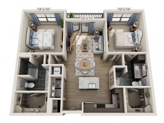 Clapton B   2 bed 2 bath   from 1186 square feet