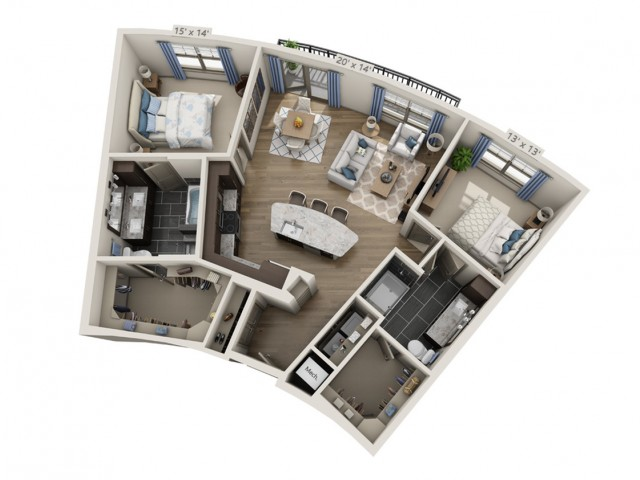 Nelson A | 2 bed 2 bath | from 1202 square feet