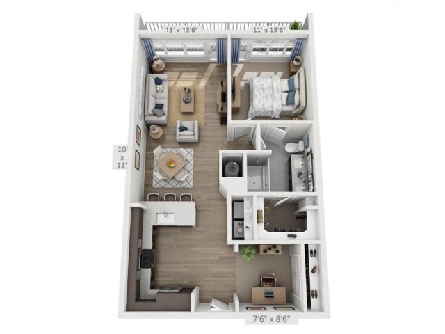 PresleyA | 1 bed 1 bath | from 913 square feet