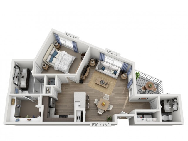 Stewart | 1 bed 2 bath | from 826 square feet