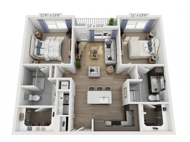 Harrison | 2 bed 2 bath | from 1043 square feet