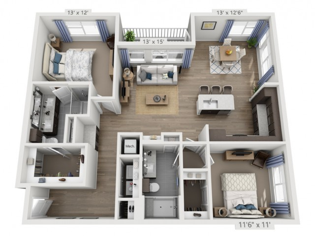 Taylor A | 2 bed 2 bath | from 1306 square feet