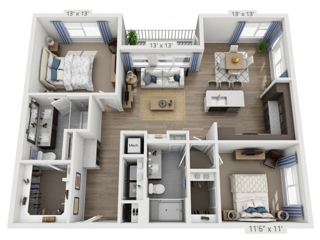 Taylor 2ALT | 2 bed 2 bath | from 1240 square feet