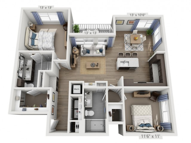 Taylor B | 2 bed 2 bath | from 1210 square feet