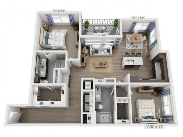 Taylor C | 2 bed 2 bath | from 1280 square feet