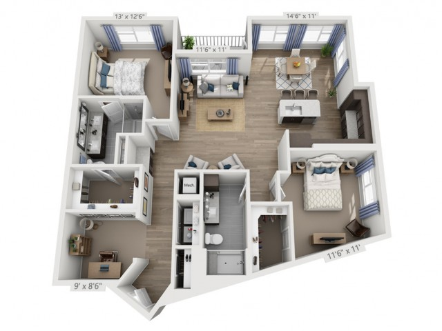 Taylor D | 2 bed 2 bath | from 1471 square feet