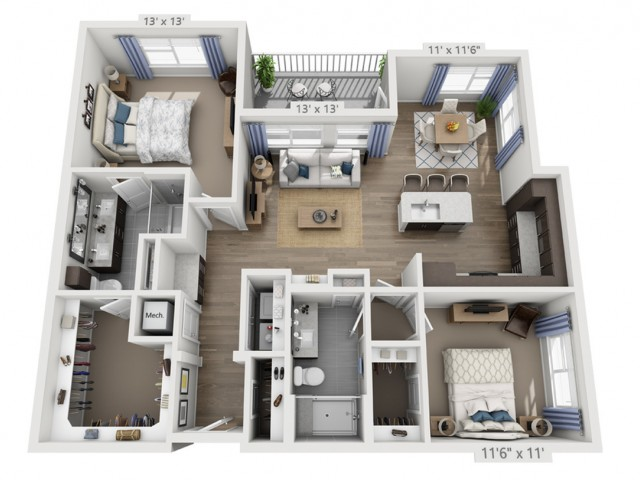 Taylor E | 2 bed 2 bath | from 1243 square feet