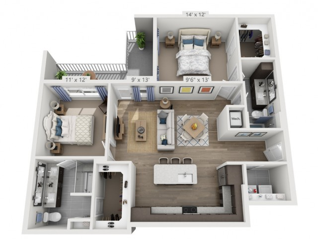 Simon | 2 bed 2 bath | from 1196 square feet