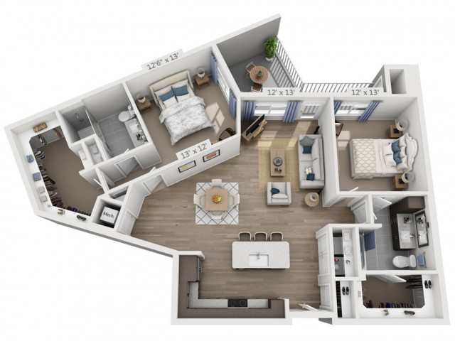 Young | 2 bed 2 bath | from 1293 square feet