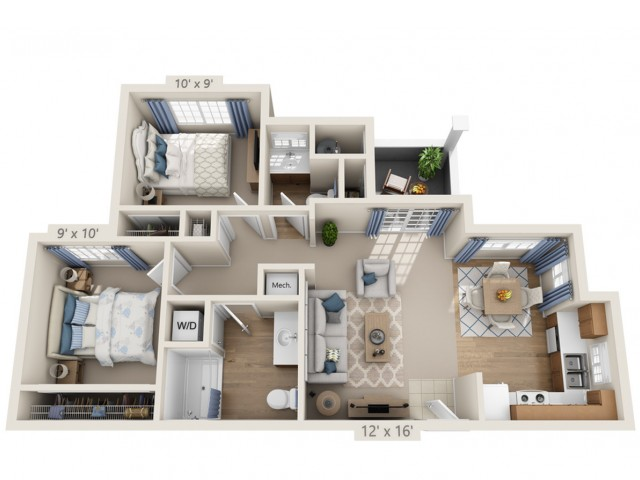 Springsteen | 2 bed 2 bath | from 823 square feet
