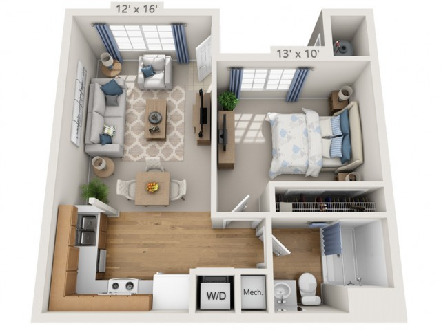 Buffet | 1 bed 1 bath | from 588 square feet