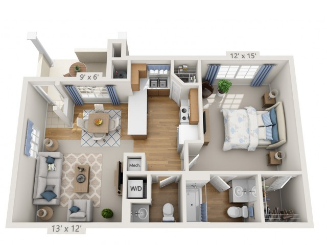 Young | 1 bed 2 bath | from 762 square feet