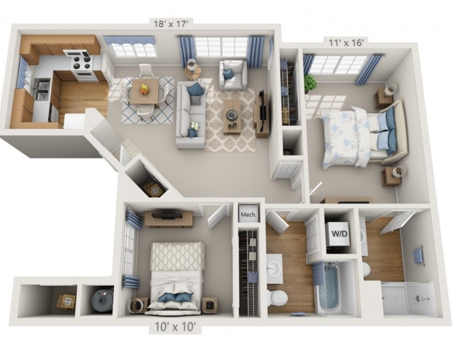 Dylan | 2 bed 2 bath | from 954 square feet