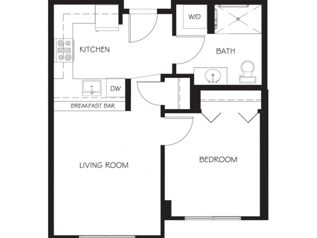 A14 | 1 bed 1 bath | from 536 square feet