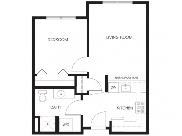 A20 | 1 bed 1 bath | from 551 square feet
