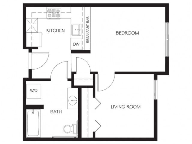 A22 | 1 bed 1 bath | from 557 square feet