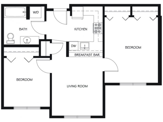 B14 | 2 bed 1 bath | from 752 square feet