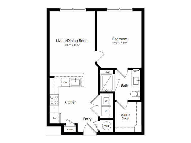 A2 | 1 bed 1 bath | from 631 square feet