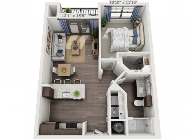 A1 | 1 bed 1 bath | from 681 square feet