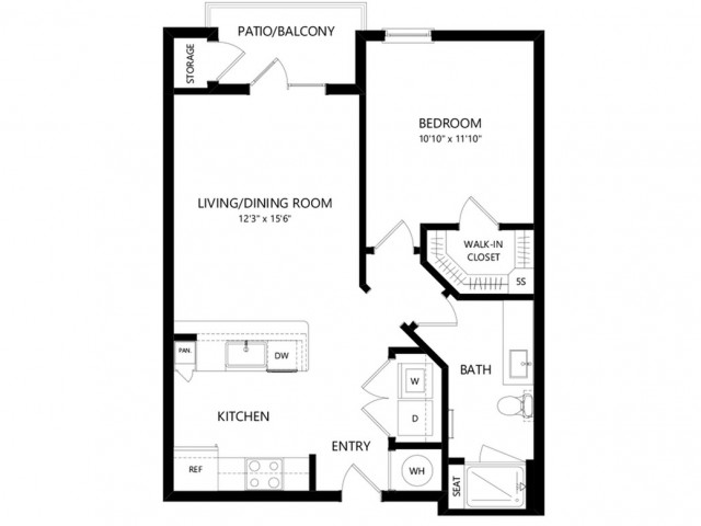 A1a | 1 bed 1 bath | from 688 square feet