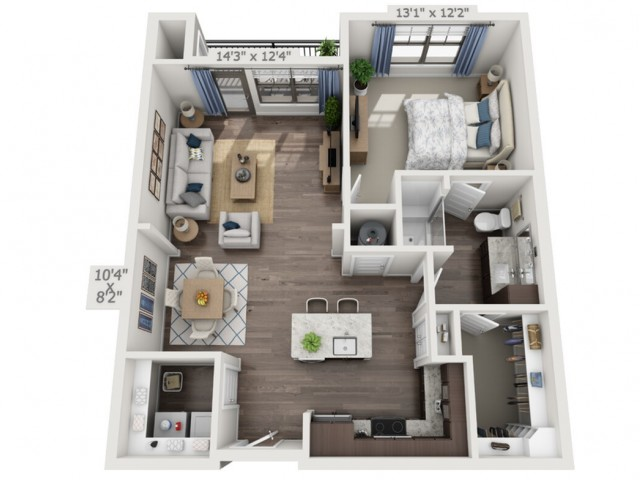 A2 | 1 bed 1 bath | from 851 square feet