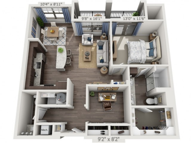 A4 | 1 bed 1 bath | from 996 square feet