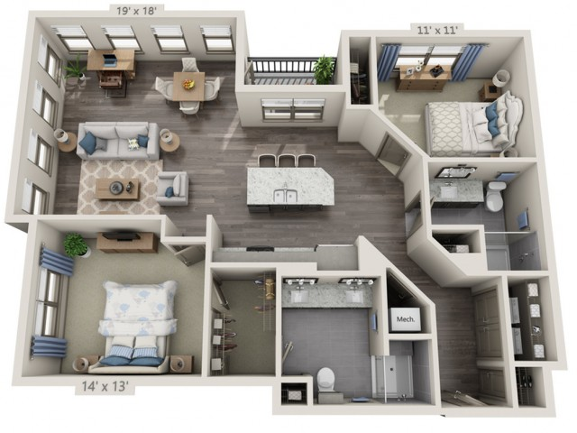 Taylor | 2 bed 2 bath | from 1339 square feet