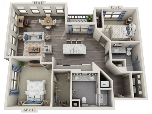 Simon | 2 bed 2 bath | from 1298 square feet