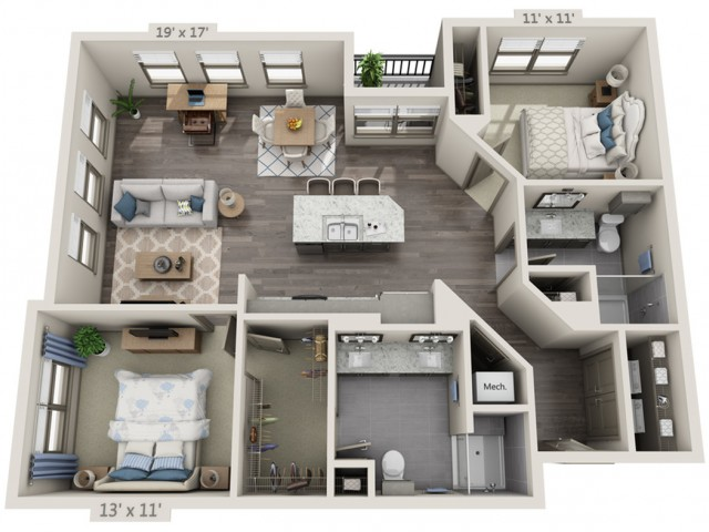 Presley | 2 bed 2 bath | from 1201 square feet