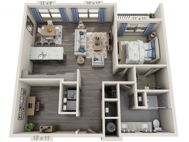 Franklin | 1 bed 1 bath | from 1007 square feet