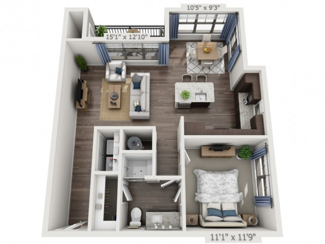 A7 | 1 bed 1 bath | from 834 square feet