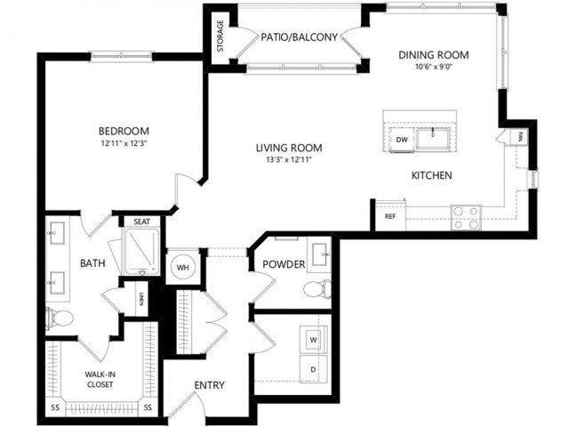 A9 | 1 bed 1 bath | from 978 square feet