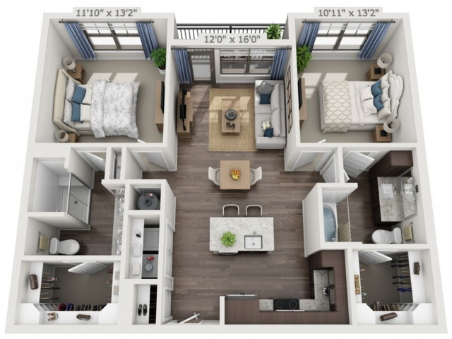B1 | 2 bed 2 bath | from 1051 square feet