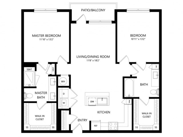 B1a | 2 bed 2 bath | from 1123 square feet