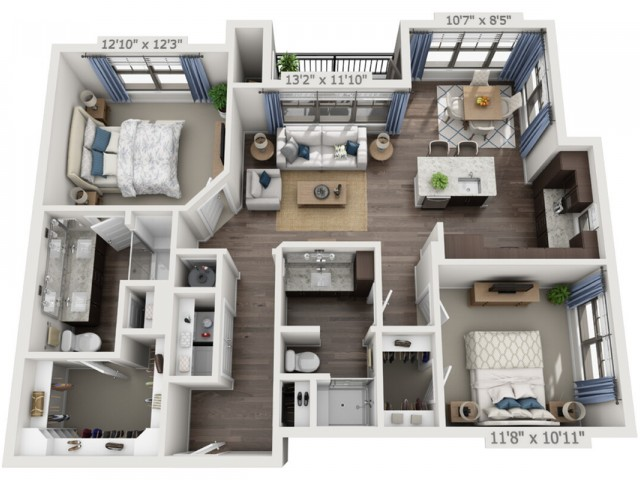 B2 | 2 bed 2 bath | from 1136 square feet